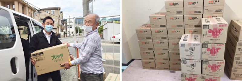 企業・団体からの食品寄付を受け取る写真